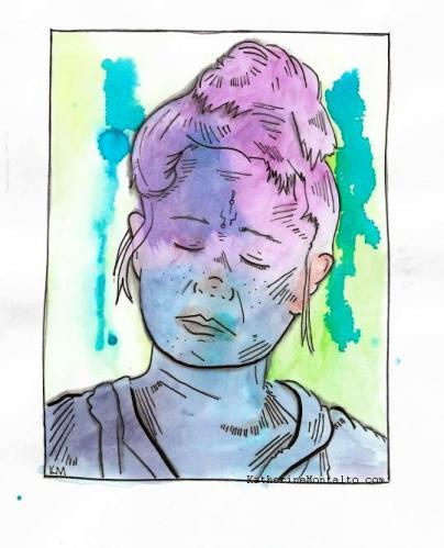 2019 04 02 line art jhain watercolor